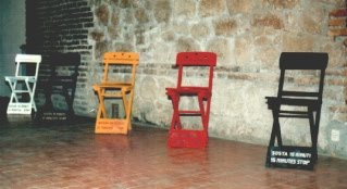 Salvatore Falci, 1983, Sosta 15 Minuti, Installazione Galleria Lascala, Roma, 1985, (con Fontana, Modica, Risitano)