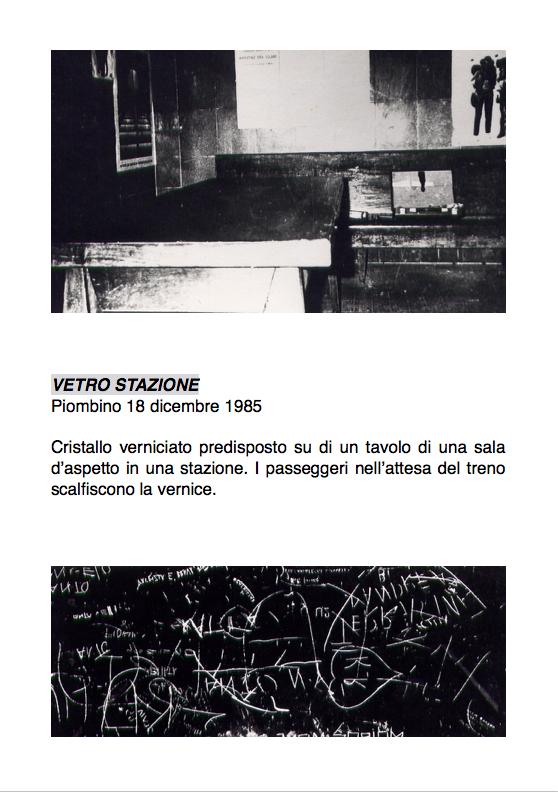 Salvatore Falci, 1985, Vetro Stazione, Piombino, 18 dicembre 1985, scheda.