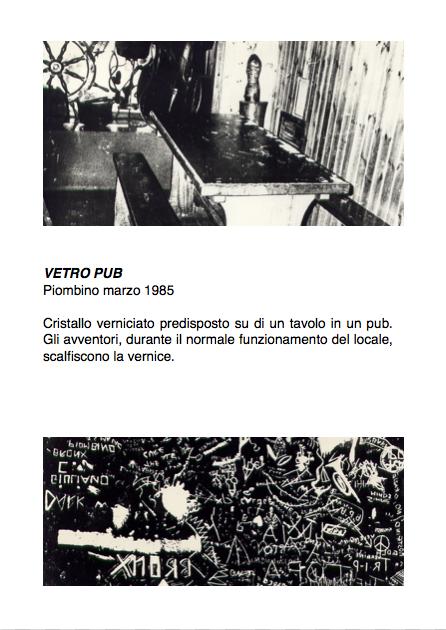 Salvatore Falci, 1985, Vetro pub, Piombino, marzo 1985, scheda.