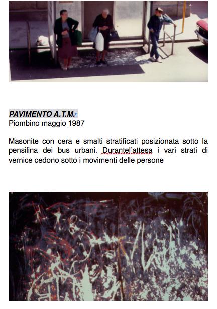 Salvatore Falci, 1987, Pavimento A.T.M. Piombino maggio 1987, scheda