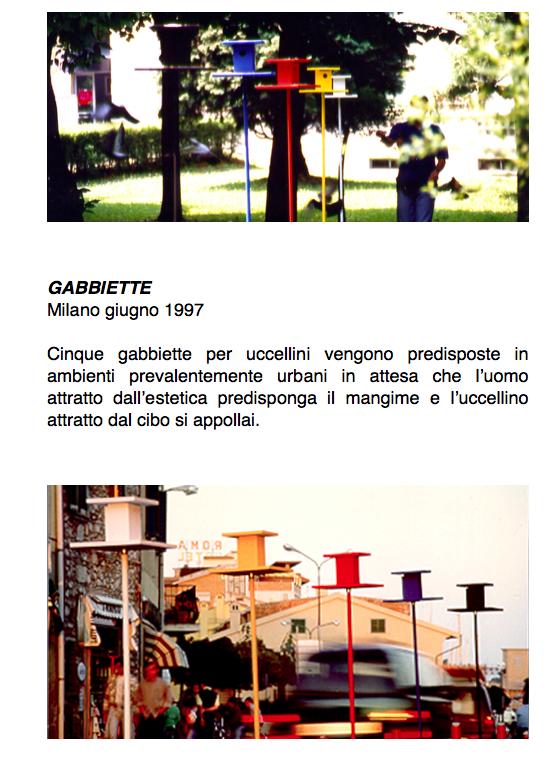 Salvatore Falci, 1997, Gabbiette, Milano, giugno 1997, scheda