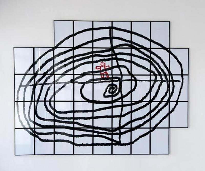 Salvatore Falci, 2012, Effetto Canova, L'uomo Ragno di Agata, tempera su carta, cm. 200x160