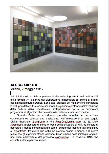 Salvatore Falci, 2013, Algoritmo 128, scheda.
