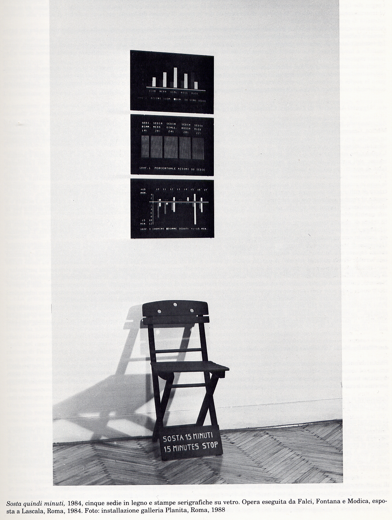 Salvatore Falci, 1983, Sosta 15 Minuti, Installazione Galleria Planita, Roma, 1988, (con Fontana, Modica, Risitano)