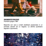 Salvatore Falci, 1987, Pavimento Phildar, Piombino, scheda.
