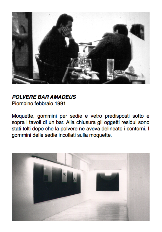 Salvatore Falci, 1991, Polvere Bar Amadeus, Piombino febbraio 1991, scheda
