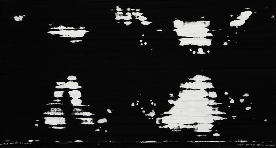 Salvatore Falci, 1995, Panchine, Lui e Lei, Villa Mimbelli, Livorno, tempera su tela, cm. 200x120