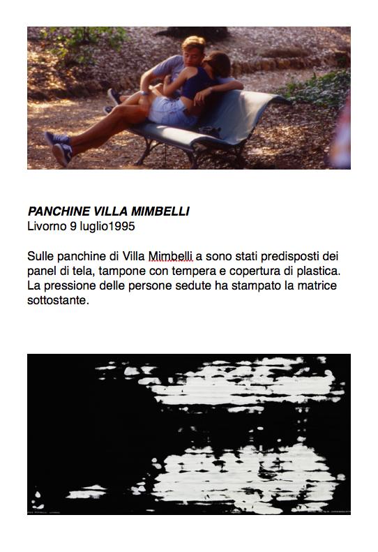 Salvatore Falci, 1995, Panchine Villa Mimbelli, Livorno, 9 luglio 1995, scheda