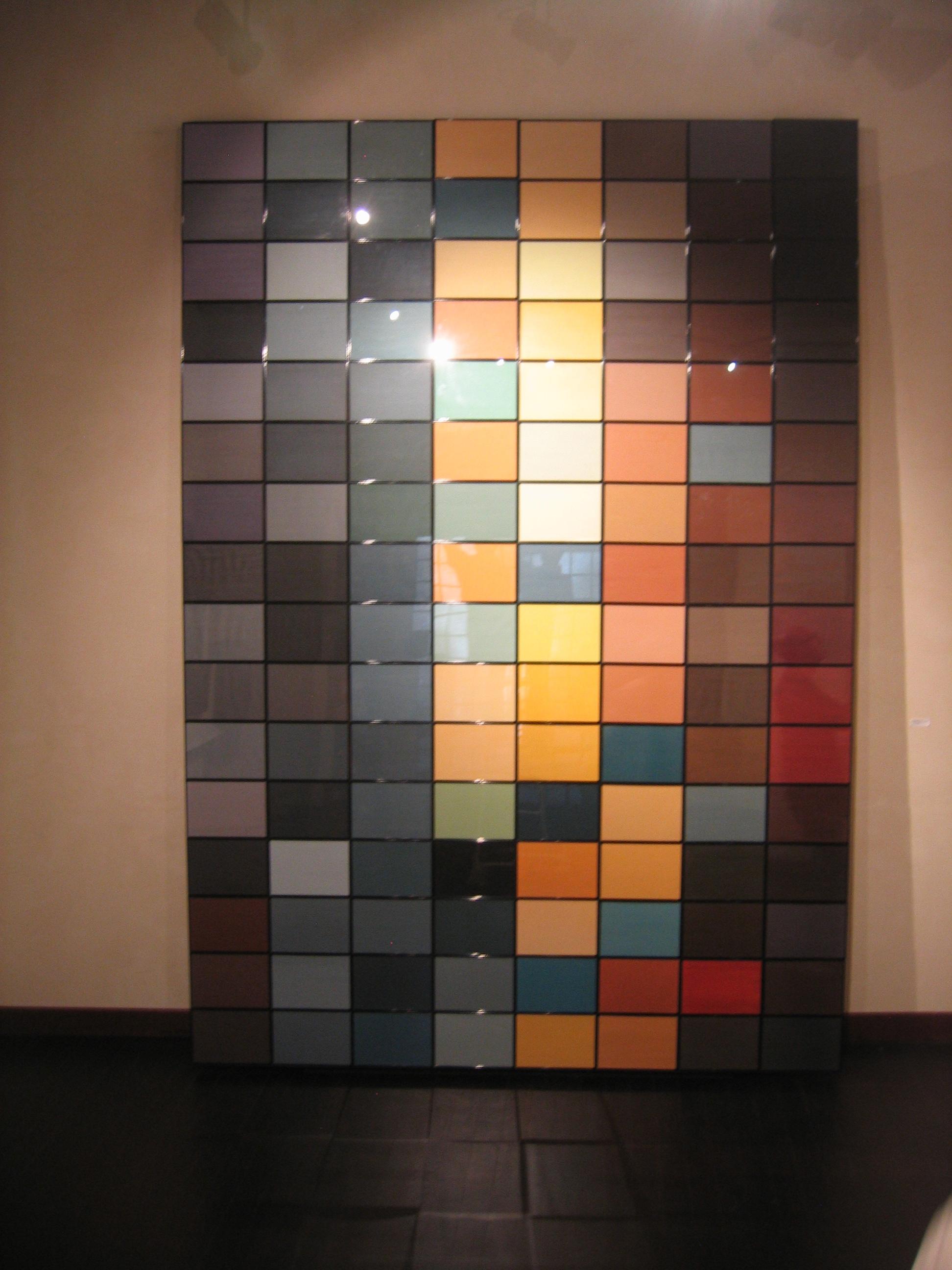 Salvatore Falci, 2013, Algoritmo 128, Ritratto Maria di Gioacchino, olio su tela, 128 elementi 21x29,7, tot. cm. 352x248